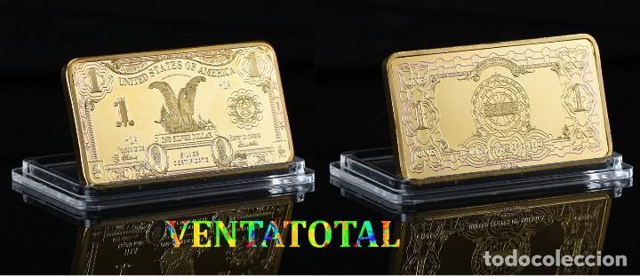 ESTADOS UNIDOS LINGOTE 1 DOLAR ORO DE 24 KILATES 40 GRAMOS( AGUILA )Nº5 (Numismática - Extranjeras - América)