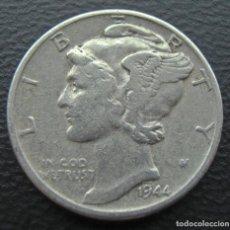 Monedas antiguas de América: ESTADOS UNIDOS, PLATA, DIME MERCURY, 10 CENTS, 1944, EEUU, USA.... Lote 152221582