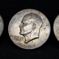 Monedas antiguas de América: 3 MONEDAS ONE DOLLAR HEISENHOWER 1974-D. Lote 152470130