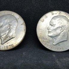 Monedas antiguas de América: DOS MONEDAS ONE DOLLAR HEIENHOWER BICENTENARIO LOS DOS TIPOS 1776-1976. Lote 152470666