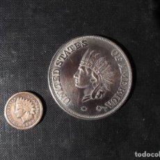 Monedas antiguas de América: 1 CENT 1889 ESCASO MUY BIEN CONSERVADO Y1 DOLLAR REPLICA DE ESTADOS UNIDOS DE AMERICA 1851. Lote 152540610