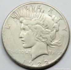 Monedas antiguas de América: MONEDA USA ESTADOS UNIDOS 1922 S PEACE / LIBERTY 1 DOLAR MONEDA PLATA MBC-. Lote 152598518