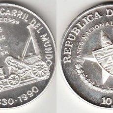 Monedas antiguas de América: CUBA 1988 - 10 PESOS DE PLATA - 1 ONZA TROY - TREN LIVERPOOL MANCHESTER. Lote 152721090