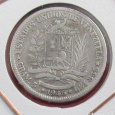 Monedas antiguas de América: VENEZUELA. MONEDA DE 1 BOLIVAR. 1945. PLATA.. Lote 152744126