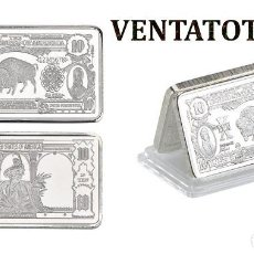 Monedas antiguas de América: ESTADOS UNIDOS LINGOTE 10 DOLARES DE PLATA 45 GRA ( BUFALO AMERICANO Y 2 PRESIDENTES ) Nº5. Lote 153384118