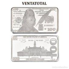 Monedas antiguas de América: LINGOTE 100 DOLARES DE PLATA 40 GRAMOS(FRANKLIN - PRESIDENTE DE 1785 A 1788 ESTADOS UNI)N1. Lote 153398078