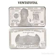 Monedas antiguas de América: ESTADOS UNIDOS LINGOTE 10 DOLARES DE PLATA 40 GRAMOS(ALEXANDER HAMILTON PRESIDENTE DE 1797 A 1801)N1. Lote 153402526