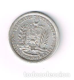 Monedas antiguas de América: Venezuela, plata 5 g - Foto 2 - 154765410