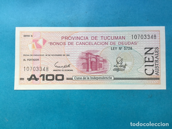 745 ) ARGENTINA,,PROVINCIA DE TUCUMÁN BONO 100 AUSTRALES,,NUEVO SIN CIRCULAR,, (Numismática - Extranjeras - América)