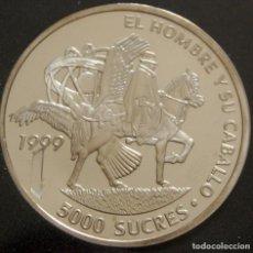 Monedas antiguas de América: ECUADOR. 2000. 5000 SUCRES. EL HOMBRE Y SU CABALLO. ENCUENTRO DE DOS MUNDOS. PLATA. Lote 155921470