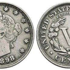 Monedas antiguas de América: *** BONITOS Y ESCASOS 5 CENTS 1898 DE ESTADOS UNIDOS. KM#112 ***. Lote 155926886