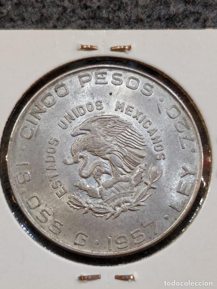 Monedas antiguas de América: Estados Unidos Mexicanos- Cinco Pesos, LEY 720, 1957 - 5 Pesos México Plata - Foto 2 - 156037154