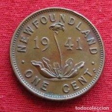 Monedas antiguas de América: NEWFOUNDLAND 1 CENT 1941 TERRANOVA CANADA. Lote 156887478