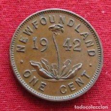 Monedas antiguas de América: NEWFOUNDLAND 1 CENT 1942 TERRANOVA CANADA. Lote 156887598