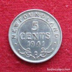 Monedas antiguas de América: NEWFOUNDLAND 5 CENTS 1941 TERRANOVA CANADA. Lote 156887794