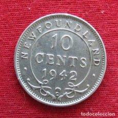 Monedas antiguas de América: NEWFOUNDLAND 10 CENTS 1942 TERRANOVA CANADA. Lote 156887930