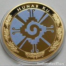 Monedas antiguas de América: MUY BONITO MEDALLON CON ORO DEL DIOS DE LOS MAYAS HUNAB KU CONSIDERADO EL DIOS MAS IMPORTANTE. Lote 210967811