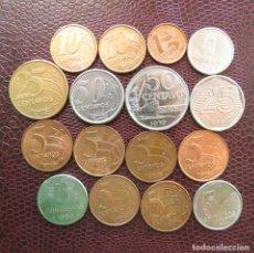 Monedas antiguas de América: BRASIL 16 MONEDAS TODAS DIFERENTES 1 5 10 25 50 CENT. 1 5 CRUZEIROS 1977 - 2010. Lote 157081310