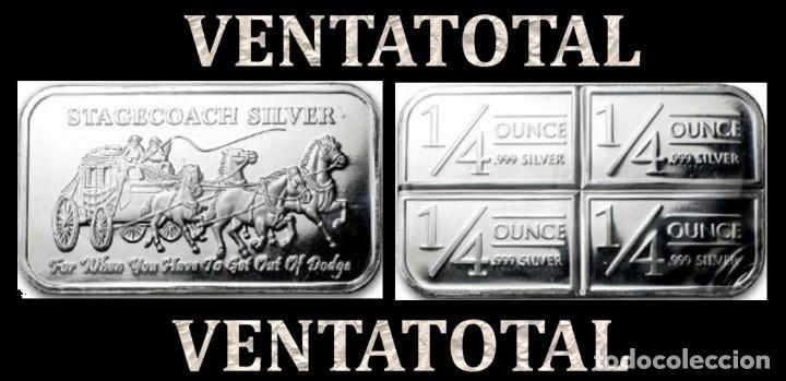 LINGOTE VINTAGE DE PLATA 30 GRA ( HOMBRES MONTADOS EN DILIGECIA TIRADA POR CABALLOS ) Nº1 (Numismática - Extranjeras - América)