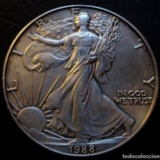 Monedas antiguas de América: USA DÓLAR 1988 1 ONZA PLATA - TIPO LIBERTAD ANDANDO -PLATA-. Lote 158561422