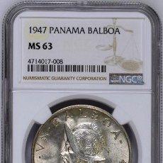 Monedas antiguas de América: PANAMA - 1 BALBOA, 1947, CERTIFICADA NGC MS63. Lote 159129934