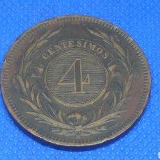 Monedas antiguas de América: URUGUAY 4 CENTESIMOS 1869. Lote 159157170