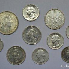 Monedas antiguas de América: CONJUNTO DE 10 MONEDAS EXTRANJERAS ANTIGUAS EN PLATA. USA Y EUROPA. LOTE 1569. Lote 159673934
