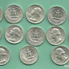 Monedas antiguas de América: 13 MONEDAS DE PLATA DE QUARTER USA 1964. SIN CIRCULAR POSIBLES ARRAS. Lote 161440446