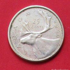 Monedas antiguas de América: CANADÁ. MONEDA DE 25 CENTAVOS. 1960. PLATA.. Lote 162589358