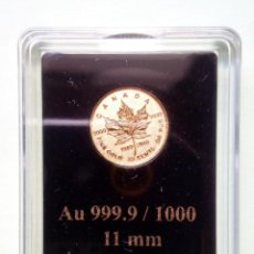 Monedas antiguas de América: CANADÁ - MEAPLE LEAF - 999,9 DE 1000 ORO FINO PRUEBA INVERSA - 40 ANIVERSARIO DE ARCE CANADIENSE. Lote 177605955