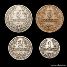 Monedas antiguas de América: URUGUAY LOTE CUATRO MONEDAS 1 1909+2 1909+5 (2,1909-1947) CENTESIMOS. Lote 164667958