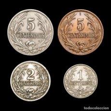 Monedas antiguas de América: URUGUAY LOTE CUATRO MONEDAS 1 1924+2 1909+5 (2,1924-1947) CENTESIMOS. Lote 164668856