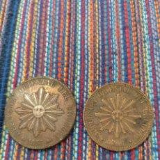 Monedas antiguas de América: CE- 20 CENTESIMOS 1857 Y 2 CENTESIMOS 1869 URUGUAY. Lote 164703526