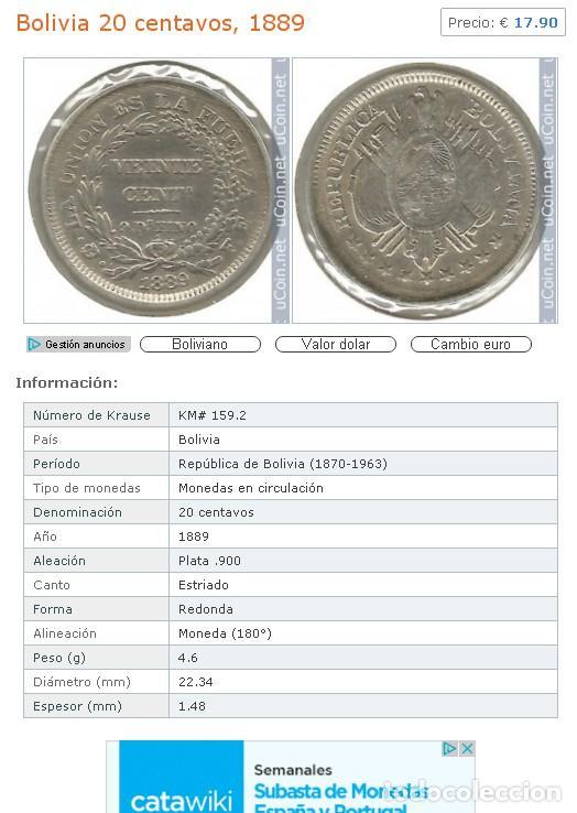 Monedas antiguas de América: Moneda de Plata. 20 Centavos. Bolivia. 1889 - Foto 4 - 164881838