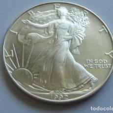 Monedas antiguas de América: MONEDA DE PLATA PURA DE 1 DOLAR DE 1992, 1 ONZA SILVER AMERICAN EAGLES, PESA 31,2 GRAMOS, U.S.A.. Lote 165331954