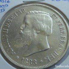 Monedas antiguas de América: MONEDA DE PLATA DE 2000 REIS DE 1888 DE BRASIL, REY PEDRO II, ESCASA. Lote 165404898