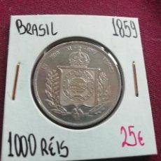 Monedas antiguas de América: BRASIL. 1000 REIS DE PLATA DE 1859. Lote 165711346