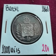 Monedas antiguas de América: BRASIL : 1000 REIS 1860 (PLATA). Lote 210393125