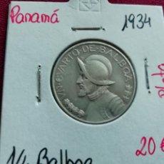 Monedas antiguas de América: PANAMA ¼ BALBOA 1934 – PLATA. Lote 165725870