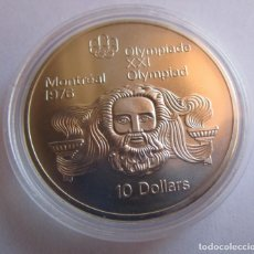 Monedas antiguas de América: CANADA .10 DOLARES DE PLATA . XXI OLIMPIADA DE MONTREAL . GRAN TAMAÑO Y PESO . 48,60 G. SIN CIRCULAR. Lote 197768565
