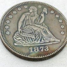 Monedas antiguas de América: RÉPLICA MONEDA ¼ DÓLAR. 1873. ESTADOS UNIDOS DE AMÉRICA. LIBERTAD Y ÁGUILA. Lote 166414182