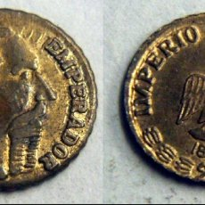 Monedas antiguas de América: PEQUEÑA MONEDA DE MEJICO MAXIMILIANO EMPERADOR BAÑO DE ORO 1865. Lote 167139008