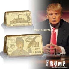 Monedas antiguas de América: LINGOTE 100 DOLARES ORO DE 24 KILAT 42 GRAMOS( TRUMP 45º PRESIDENTE DE ESTADOS UNIDOS )Nº8. Lote 167521676
