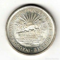 Moedas antigas da América: MEXICO: 5 PESOS PLATA 1950 S/C INAGURACIÓN DEL FERROCARRIL DEL SUROESTE. Lote 167592432