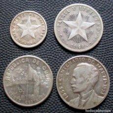 Monedas antiguas de América: CUBA LOTE: 10 CENTAVOS 1949 / 20 CENTAVOS 1948 / 20 CENTAVOS 1952 / 25 CENTAVOS 1952 -PLATA-. Lote 167827528