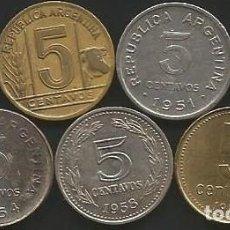 Monedas antiguas de América: ARGENTINA VARIOS AÑOS - LOTE DE 7 MONEDAS DE 5 CENTAVOS CIRCULADAS . Lote 169239660