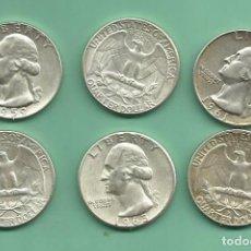 Monedas antiguas de América: PLATA-USA. 6 MONEDAS DE QUARTER 1959,60,61,62,63,64-D MONEDAS DE 6,25 GR.LEY 0,900. Lote 169974120
