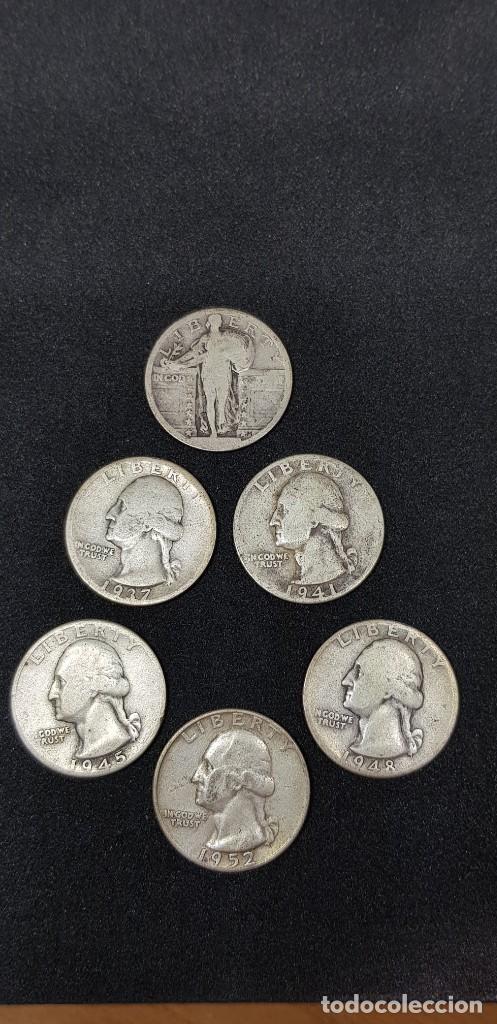 ¼ DÓLAR LIBERTY EN PIE S/F -WASHINGTON 1937-1941-1945-1948-1952 PLATA 0.900, 6.25G, Ø 24.26MM (Numismática - Extranjeras - América)