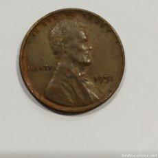 Monedas antiguas de América: USA. MONEDA 1 CENT 1951 .VER FOTO. Lote 171707814