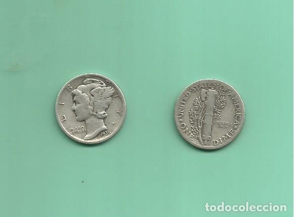 MONEDA DE PLATA DIME 1936 MONEDA DE 2,5 GRAMOS DE LEY 0,900 (Numismática - Extranjeras - América)